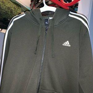 Men's green/white Adidas Zip up